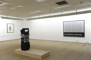 Decline, (from left to right) Jennifer McCamley, 'Homage to Thierry de Cordier (I have absolutely nothing to do with the 20th century)', 1989; Luke Holland 'Warning', 2013; Joshua Petherick, 'Gutter', 2013; Janet Burchill & Jennifer McCamley, 'New Improved, Qualities', 2007