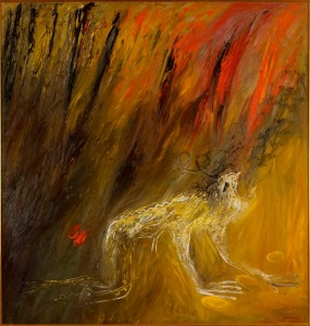 Arthur Boyd, 'Nebuchadnezzar being struck by lightning', 1968-69, oil on canvas