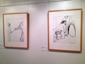 Installation view of Arthur Boyd: An active witness, showing two illustrations from his series Spare the face, gentlemen, please, 1993.