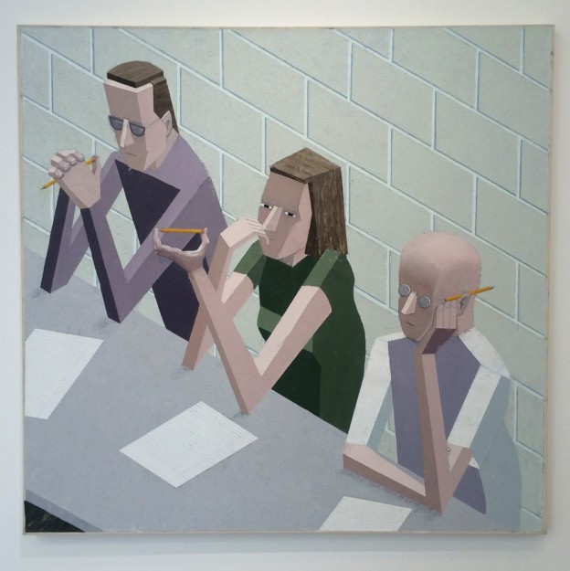 Mernet Larsen, 'Taking Notes', 2004, acrylic, tracing paper and oil on canvas, 122cm x 127cm