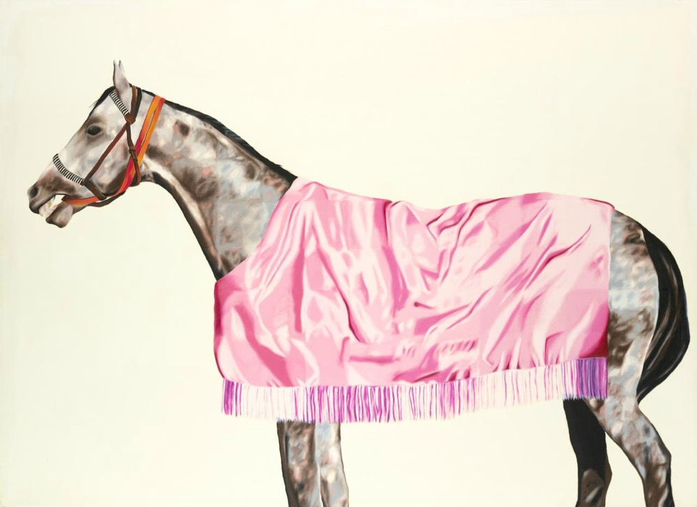Jenny Watson, Horse series No.8, grey with pink rug, 1974