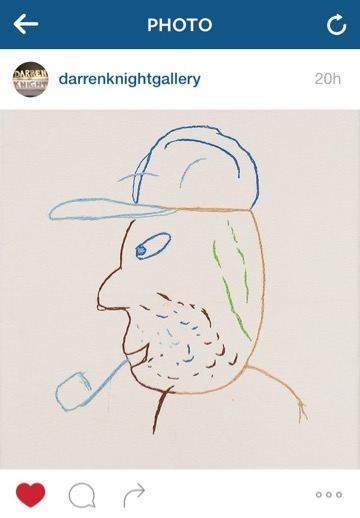 Dad Drawing, 1995-96, by Ronnie van Hout. Posted by @darrenknightgallery