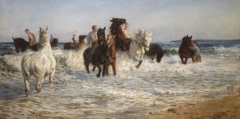 Lucy Kemp-Welch, 'Horses bathing in the sea', 1890.