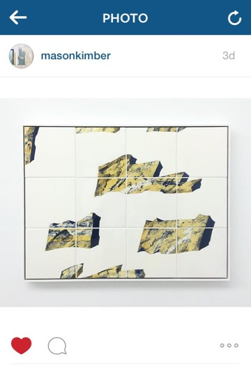 A post by @masonkimber of Mary MacDougall's tile painting from the recent exhibition Casual Conversation, Verging on Harassment at Minerva, Sydney