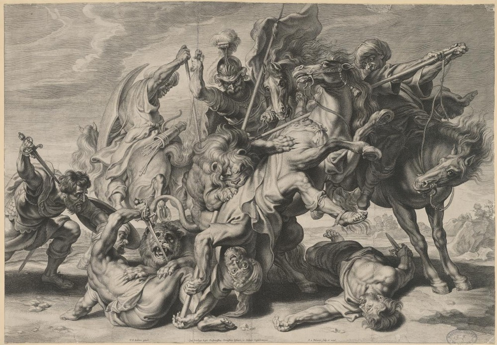 Schelte Bolswert, The lion hunt, c. 1628