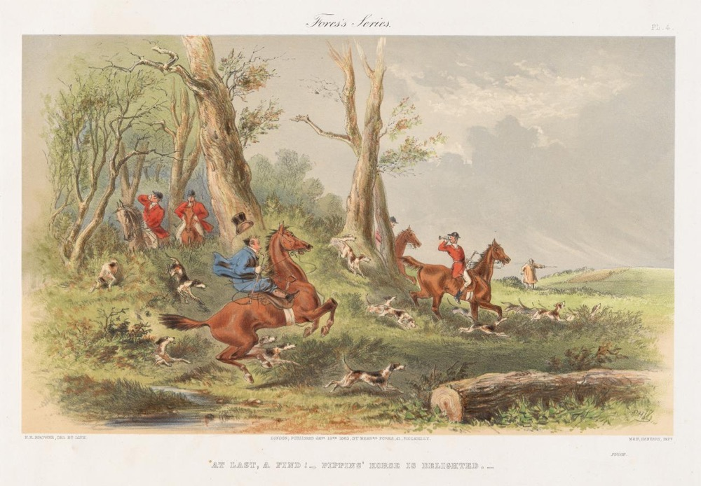 H.K. Browne, plates 4 & 6 from How Pippins enjoyed a day with the foxhounds, 1863
