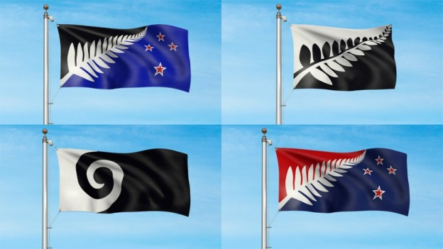 Official renderings of the final four options in the New Zealand flag referendum. Image: ONE News