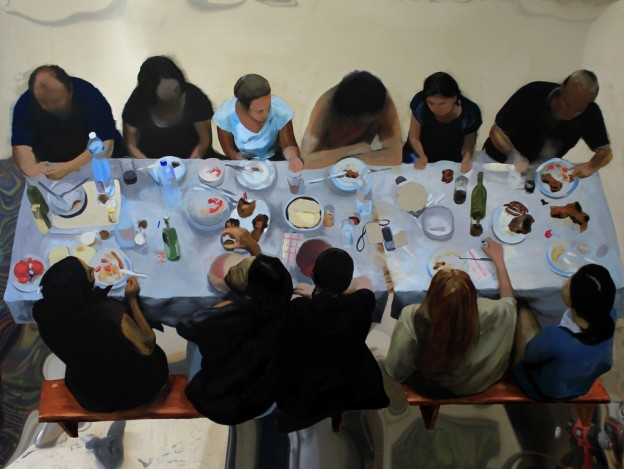 "Dragoş Burlacu, ""Cena"", oil on stainless steel sheet, selectively sanded,2013. Courtesy the artist"