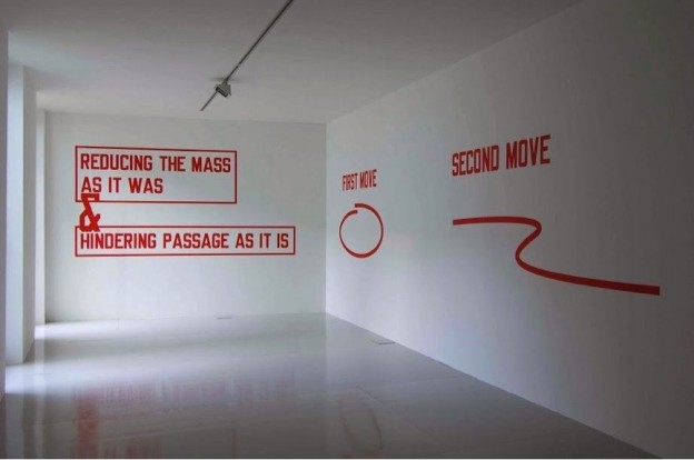 Lawrence Weiner, That which is brought to bear reducing the mass as it was & hindering passage as it is first move second move third move, 2007
